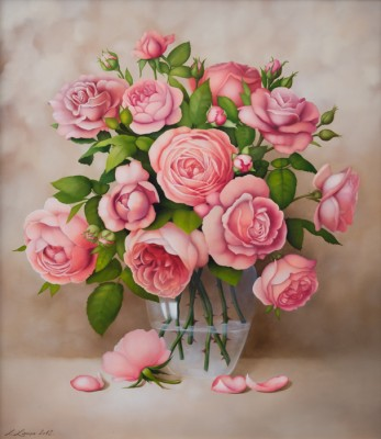 """Roses in vase"", oil on canvas"