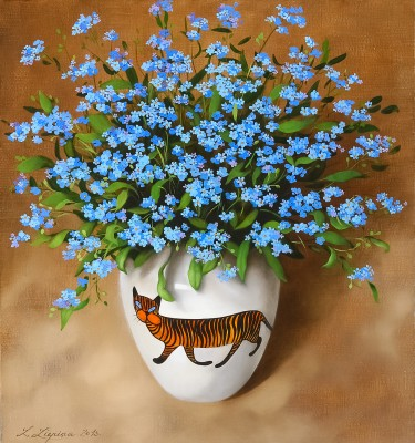"""Blue forget-me-not"", oil on canvas"