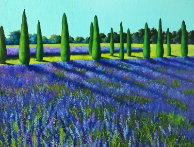 """Lavander field"", oil on canvas, 60,5x80 cm"