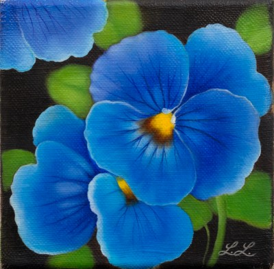 """Pansy"", oil on canvas, 10x10 cm"