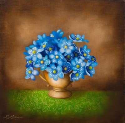 """Hepatica nobilis"", oil on canvas"