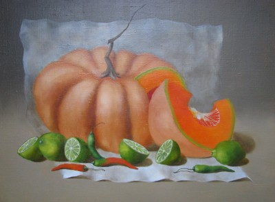 """Pumpkin with limes"", oil on canvas"