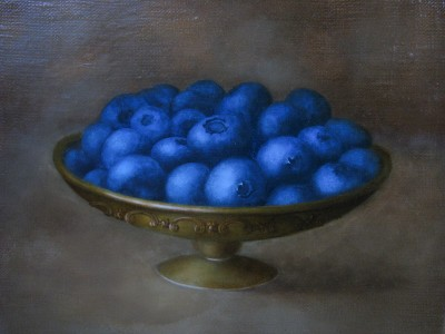 """Fruit of blueberries"", oil on canvas"
