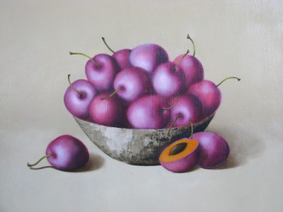 """Purple plums"", oil on canvas"