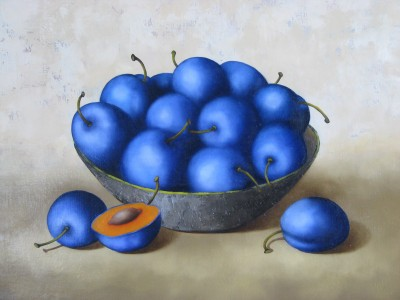 """Blue plums"", oil on canvas"