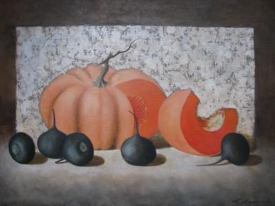 """Pumpkin with radish"", oil on canvas"