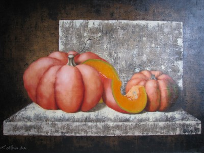 """Pumpkins I"", oil on canvas"