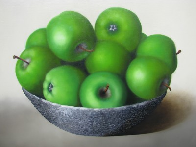 """Green apple"", oil on canvas"