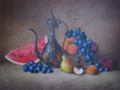 """Still life with fruits"", oil on canvas"