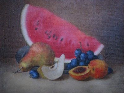 """still life with fruits I"", oil on canvas"