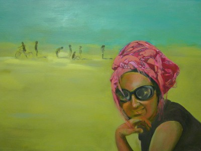 """In the beach"", oil on canvas"