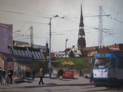 """""At the bus station"", oil on canvas"