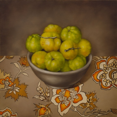 """Quinces"", oil on canvas, 30x30 cm"